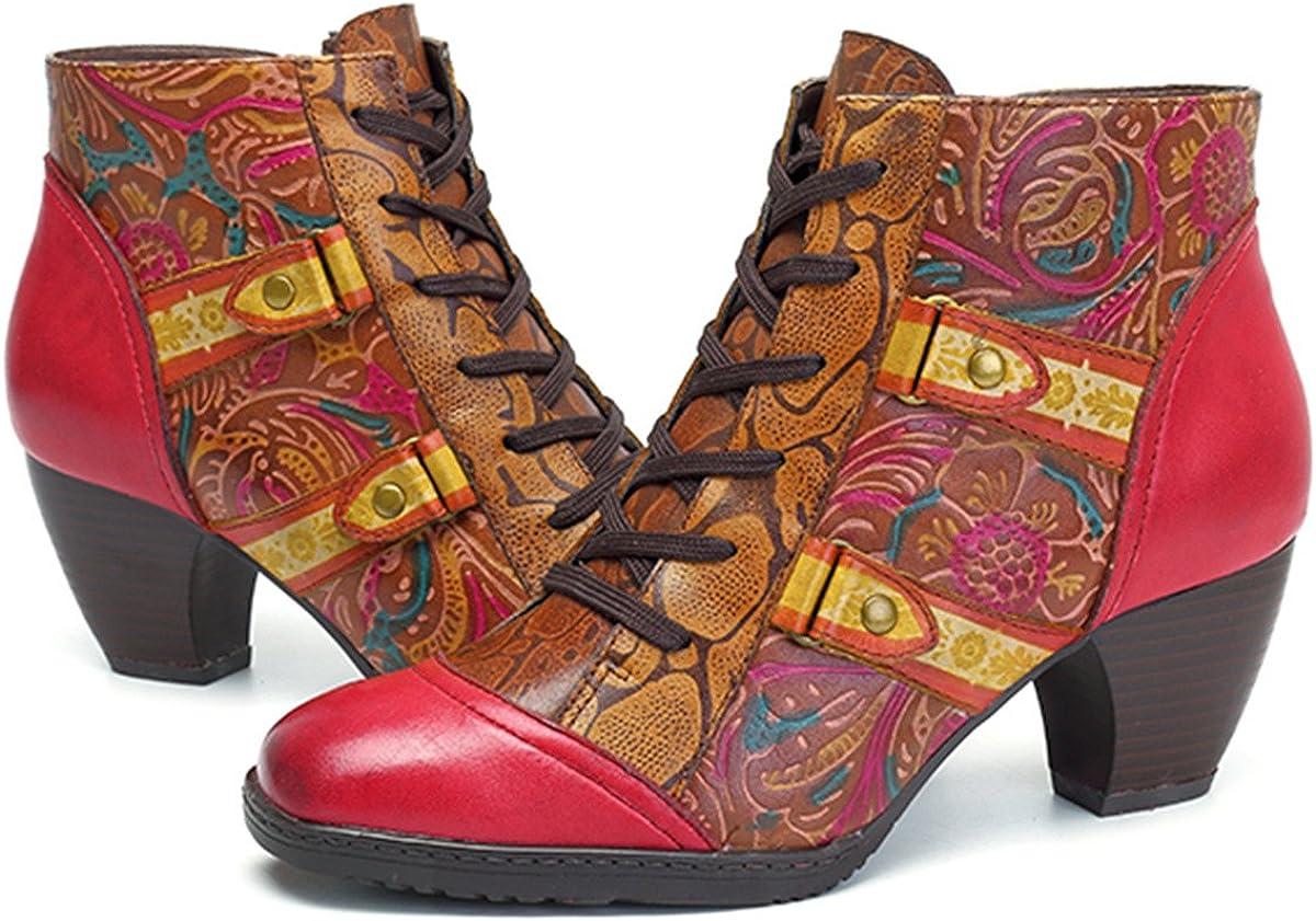 Botas de Mujer,Socofy Invierno Cuero 2019 Tacón Alto Medio Botas de Nieve Zapatos de Encaje Estilo Bohemio Urbano Original Estilo Nacional Ambiente Festivo Botines Suave Comodo,Rojo