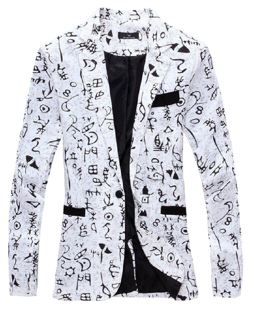 Freely Men's Printing Slim Fit Long Sleeve Office Sport Coat