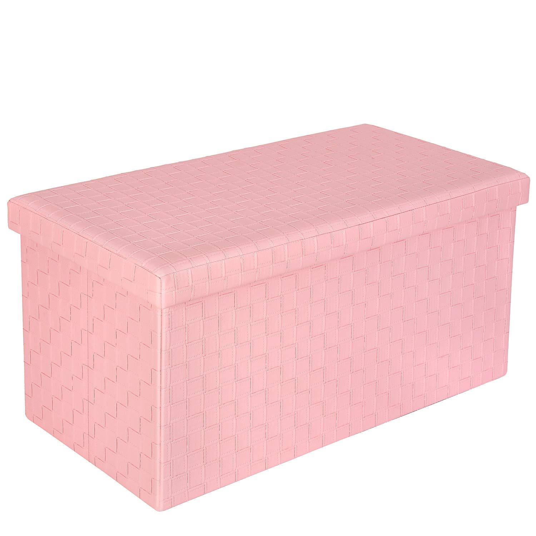 76,5 x 38 x 38 cm Bonlife Poufs et Repose-Pieds Premium Confortable Tabouret Pliant rectangulaire Rose Simili-Cuir