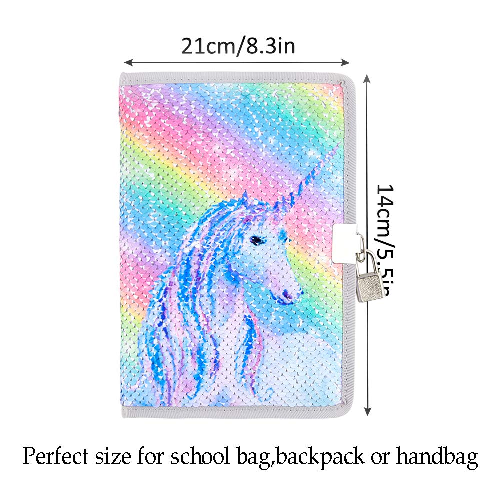 ghdonat.com MHJY Unicorn Notebook Sequin Secret Diary with Lock ...