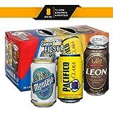 Cerveza Mexicana Combo Fiesta León, Pacifico y Montejo, 24 Latas 355ml c/u
