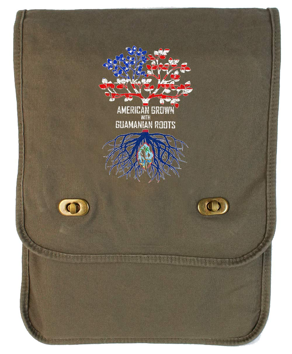 Tenacitee American Grown with Guamanian Roots Khaki Green Raw Edge Canvas Messenger Bag