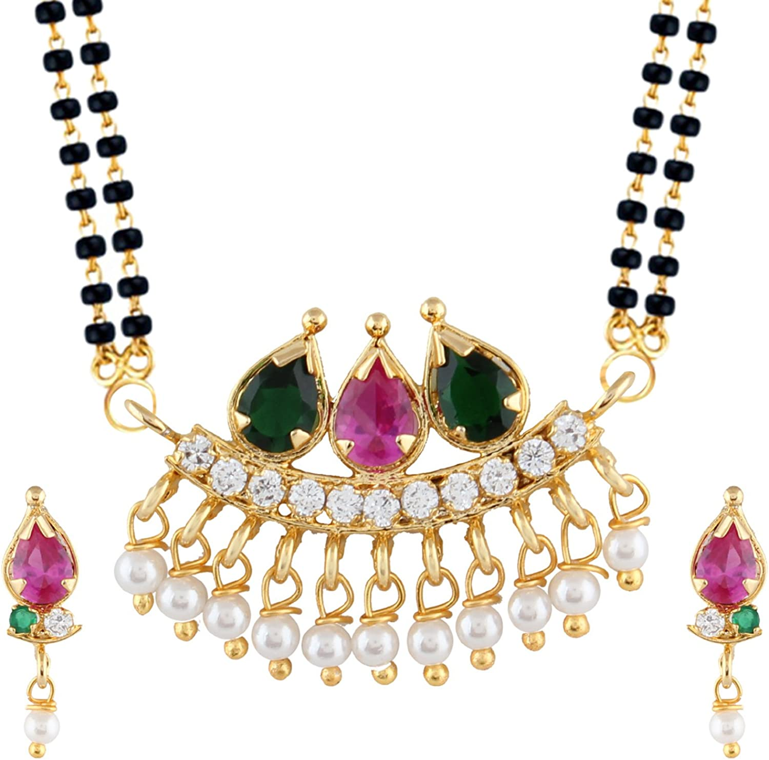 Efulgenz Indian Bollywood Traditional Gold Plated Ruby Emerald//Color CZ Stone Mangalsutra Pendant Necklace Jewelry with Chain for Women