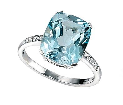 Bague - Or blanc - Topaze/Diamant pour femme, Très jolie et tendance