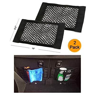 DiMiK Universal Mesh Cargo Net Velcro Car Storage Net Wall Sticker Organizer Pouch Bag Storage Mesh Net for Car Trunk Storage Add On Organizers for Car Truck, Pack of 2: Automotive