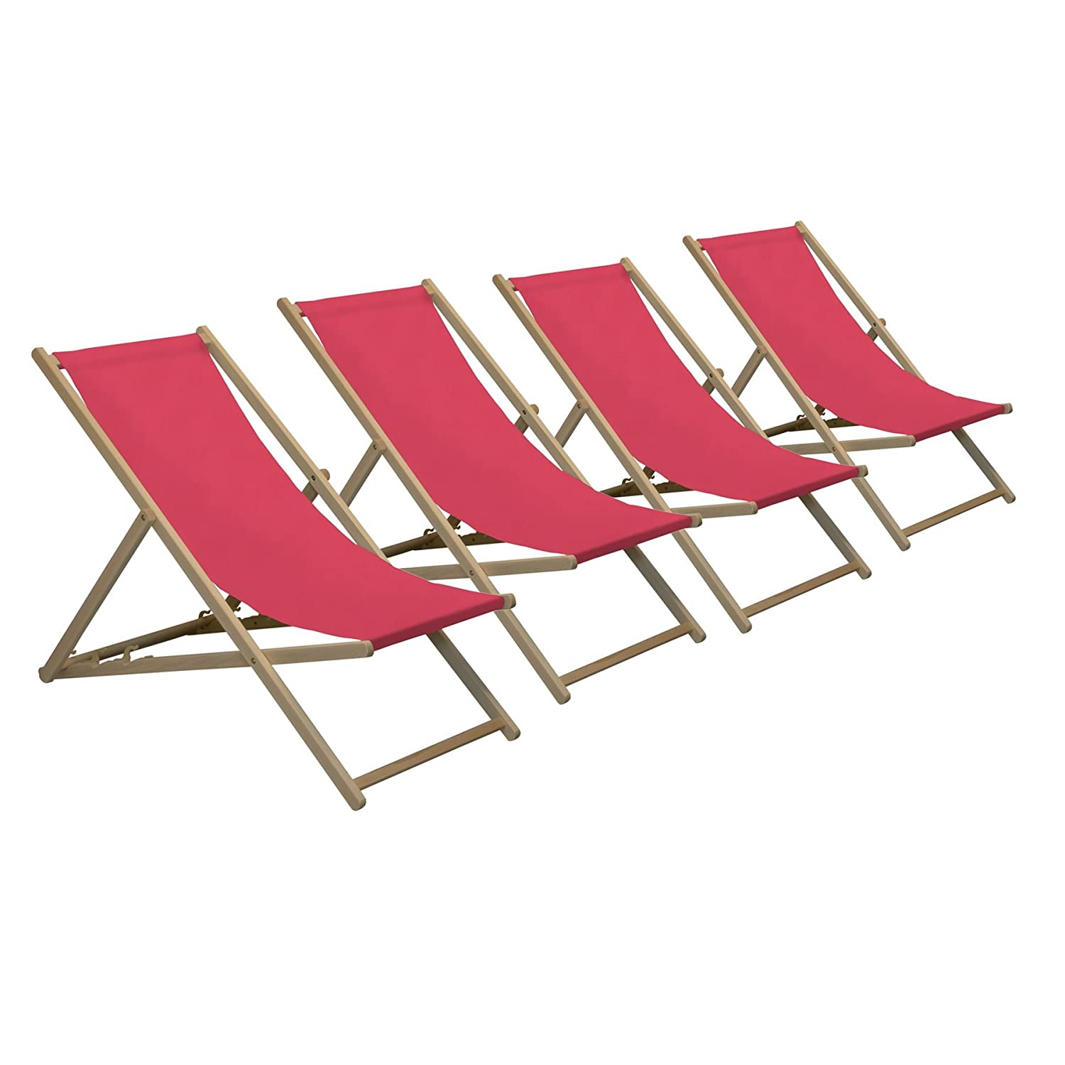 Harbour Housewares Traditional Adjustable Wooden Beach Garden Deck Chair - Pink - Pack of 4