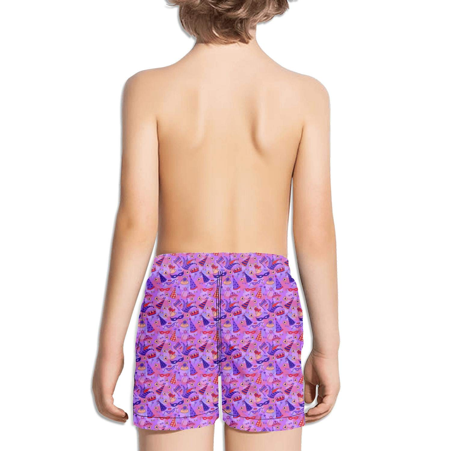 Happy Purim Purple Collection Collage Kids Solid Board Fully Lined Retro Swimming Trunks Shorts