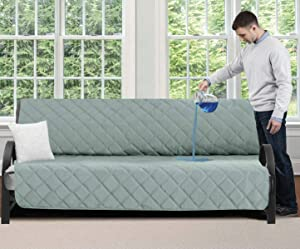 Mighty Monkey Premium Water and Slip Resistant Futon Slipcover, Seat Width Up to 70 Inch, Absorbs 5 Cups of Water, Oeko Tex Certified, Suede-Like, Furniture Cover for Futons, Kids, Futon, Seafoam