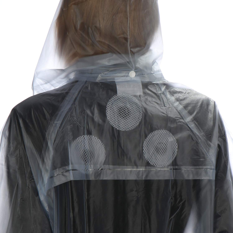 Unisex PVC Regenmantel Regenjacke Regenschutz Kapuze Knöpfen Transparent L//XL