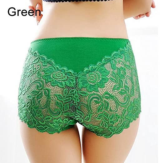 Image Unavailable. Image not available for. Color  shengyuze Green Women  Sexy Lace See-Through Underwear Boxer Shorts High Waist Panties ... 493c66598