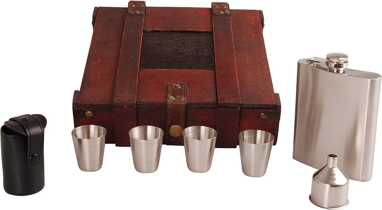 MYBOXES - Set de regalo de petaca de 200 ml con embudo, estuche de piel para cuatro vasos de chupito en una caja de madera con aspecto rústico
