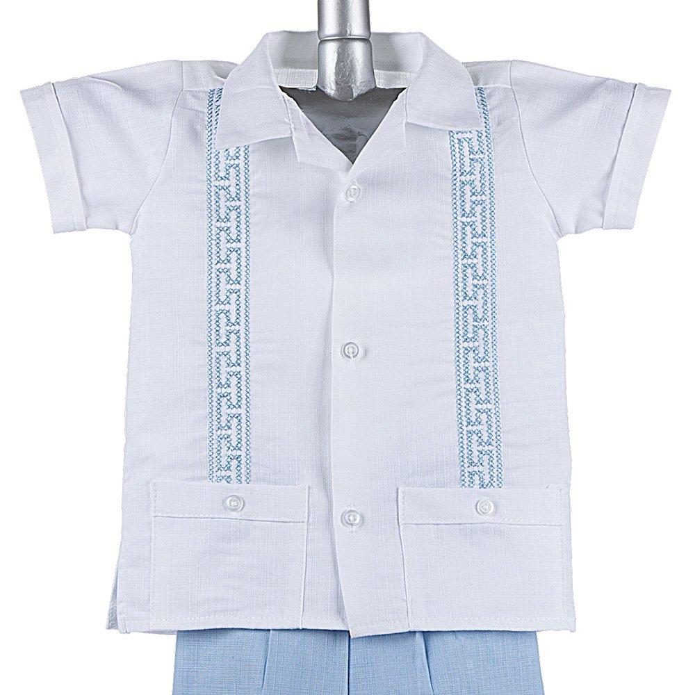9a2a2176102e5 Amazon.com: Boys Guayabera Shirt, Boys Baptism Shirt w/ Pants Set ...