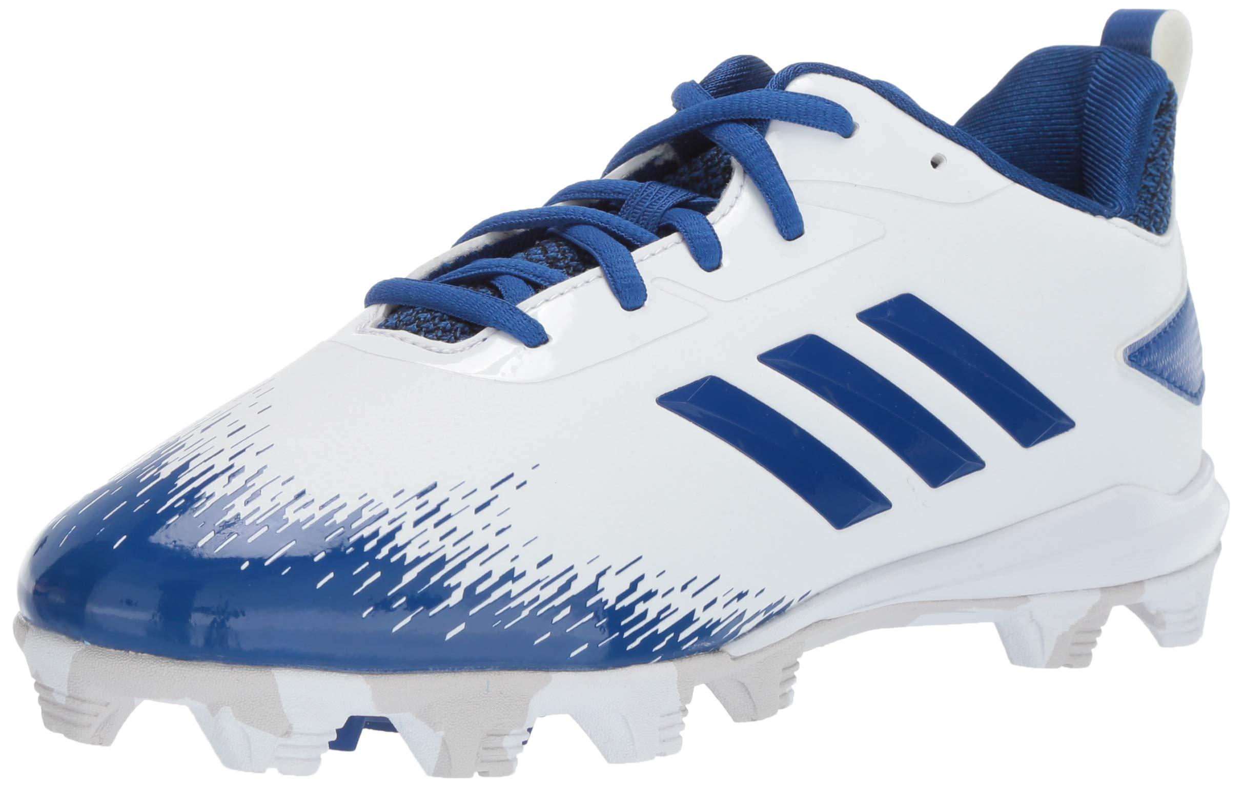 adidas Unisex Adizero Afterburner V Baseball Shoe, White/Collegiate Royal/Grey, 1.5 M US Little Kid by adidas