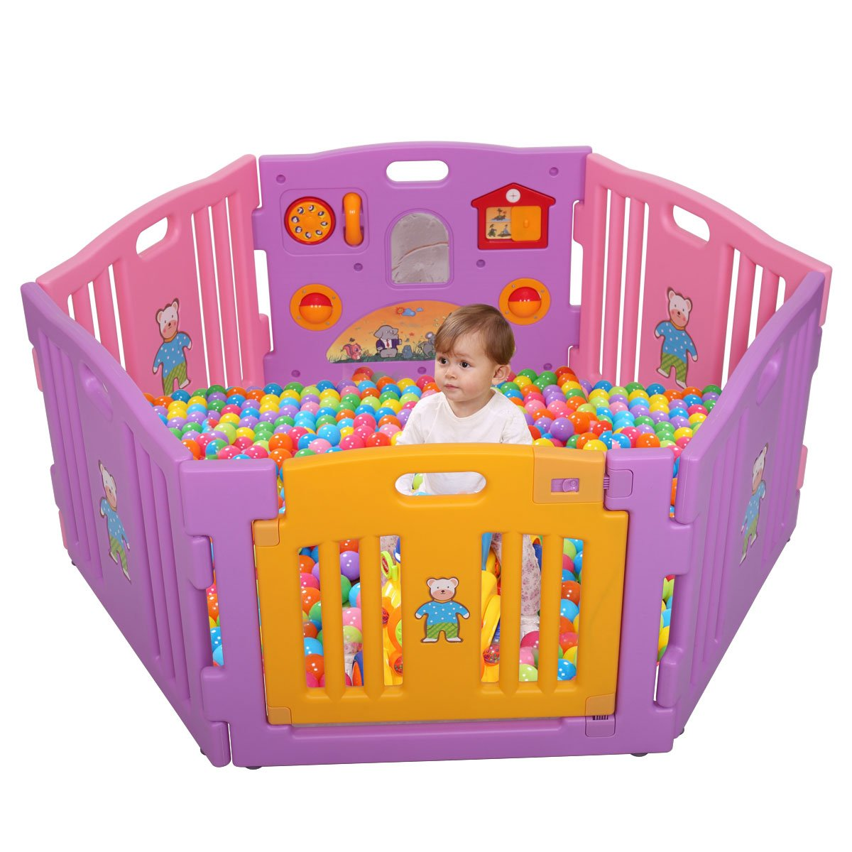 LAZYMOON Pink Baby Playpen Kids 6 Panel Safety Play Center Yard Home Indoor Outdoor Game