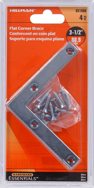 Hillman Hardware Essentials 851088 Flat Corner Iron Zinc 3-1//2 x 8-4 pack