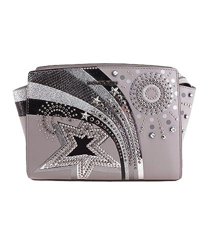 e12bd14aeded Amazon.com  MICHAEL Michael Kors Selma Embellished Leather Messenger Bag -  Pearl Grey  Shoes