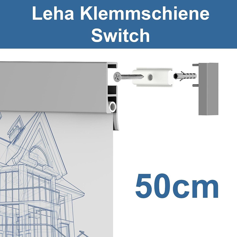 Leha® Klemmschiene, Wandklemmschiene, Klemmleiste Switch silber 50cm Aluminium