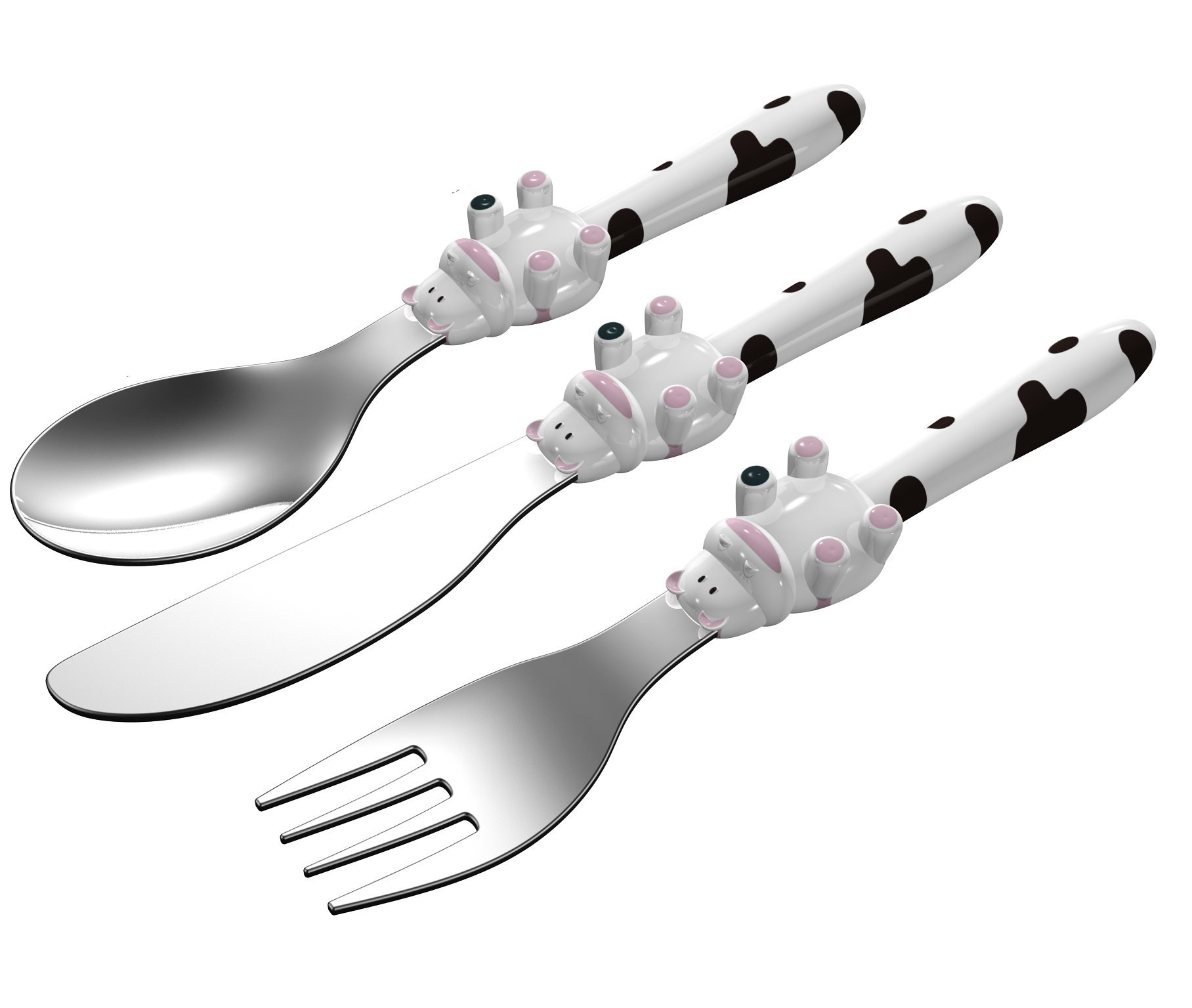 EXZACT - 3 pieza para niños cubertería - 1 x cena cuchillo, 1 x cena tenedor, 1 x cena cuchara (Vaca x 3)