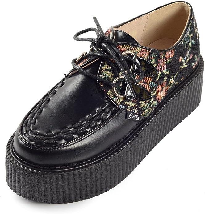 Damen Schnürschuhe Flache Jahrgang Gote Punk Creepers Schuhe
