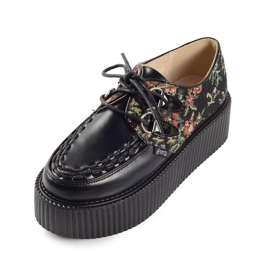 RoseG 19992 Femmes Broderie Lacets Plateforme Gothique B00ZP324CO Creepers Chaussures Creepers Noir 6ca0b45 - piero.space