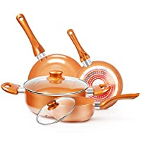 Deals on 6-Pcs KUTIME Cookware-Set Nonstick Pots and Pans-Set Copper Pan