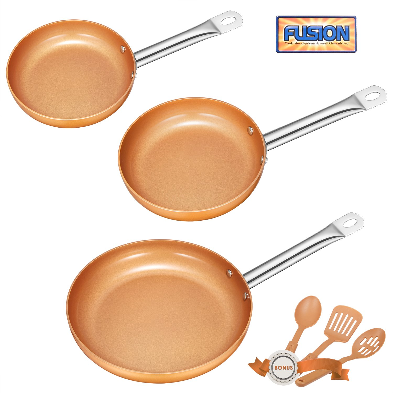 Deik Frying Pan Set, Non-Stick Ceramic Coated Copper Set 8'', 10'' and 12'' Induction Compatible, Oven & Dishwasher Safe, Stainless Steel Handles, with 3 Spatula and Spoon by Deik