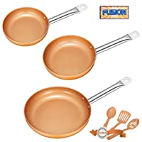Deik Frying Pan Set, Non-stick Chef Pan, Copper Style Pan with Stainless Steel Handle, Deik PFOA free Skillet, Dishwasher and Oven Safe Cookware Set 3 Pack with 3 Bonus Professional Spatula and Spoon