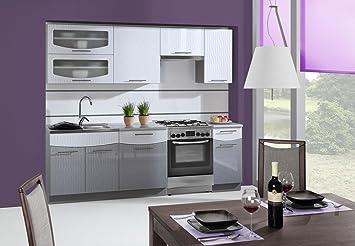 Komplett Küche 240cm Schränke, Küchenzeilen Weiß- Silber / Grau ...