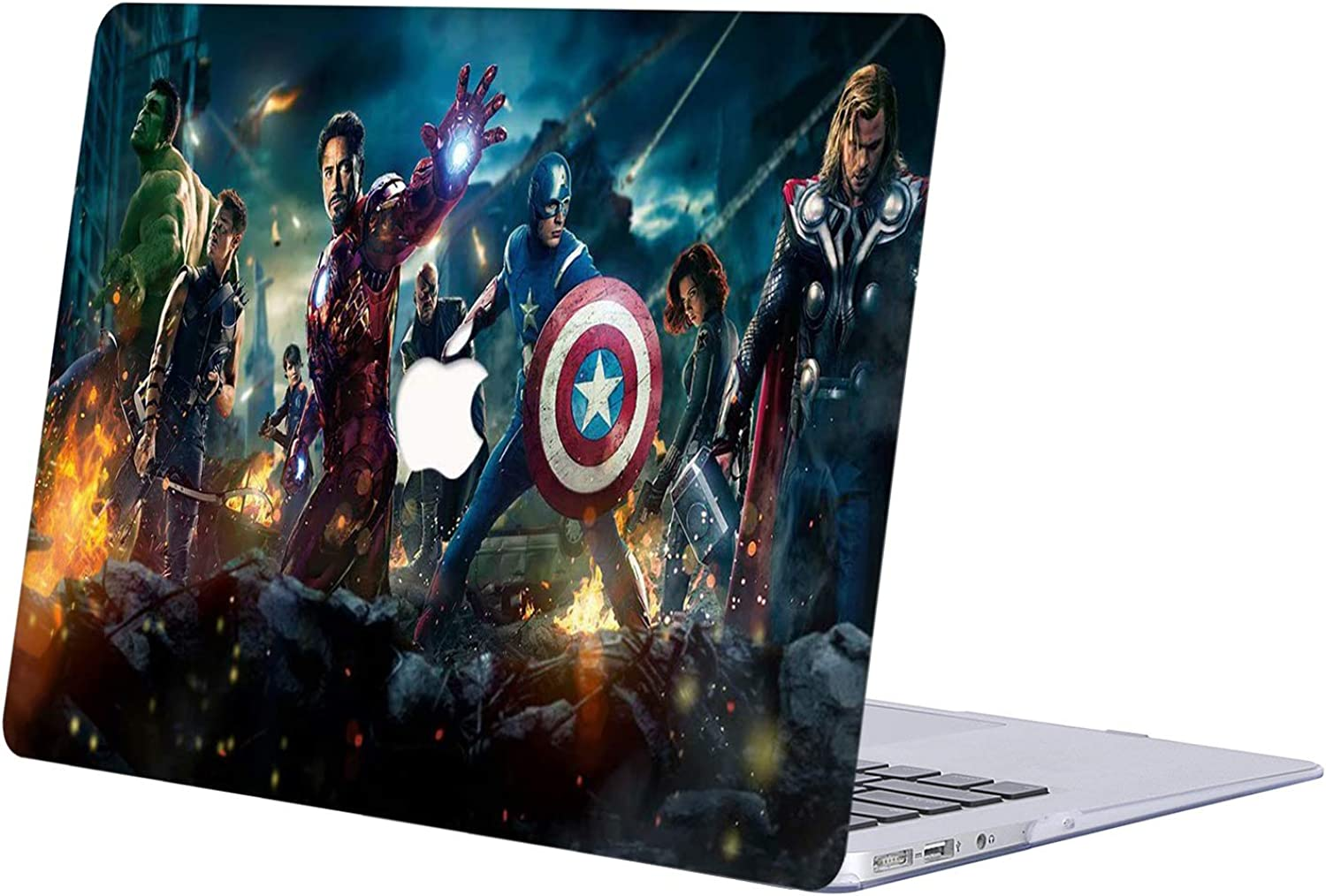 AJYX Laptop Protective Case Hard Plastic Shell The Avengers Pattern Cover for MacBook