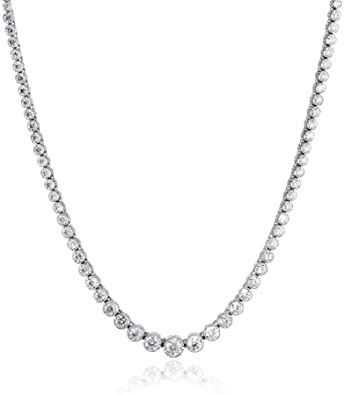 "53635571f28eb0 14k White Gold Milgrain Diamond Tennis Necklace, 17"" (5.5cttw, H-I  Color"