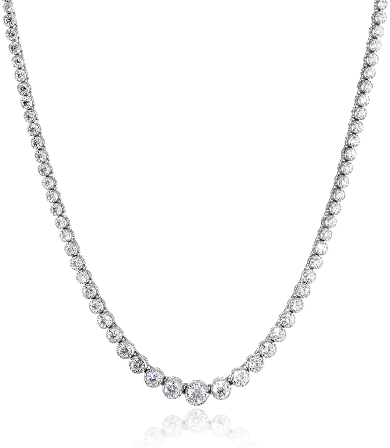 14k White Gold Milgrain Diamond Tennis Necklace, 17'' (5.5cttw, H-I Color, I1 Clarity)