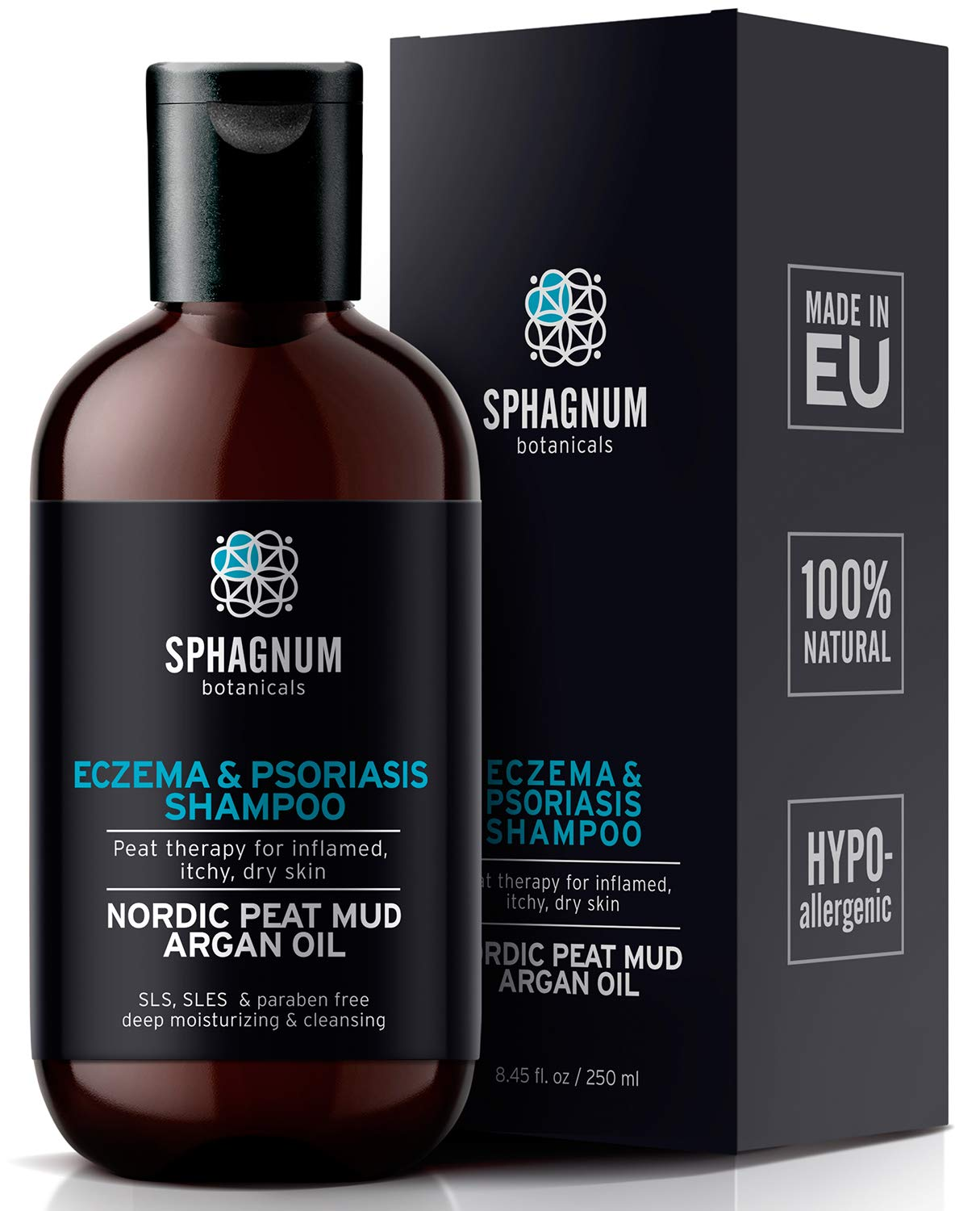 Natural Eczema and Psoriasis Shampoo - Peat Mud Treatment 100% Free from Cancerous Coal Tar. Sulfate Free, Itchy Scalp Relief, Anti Dandruff & Dermatitis. Deep Moisturizing & Cleansing With Argan Oil... by Sphagnum Botanicals