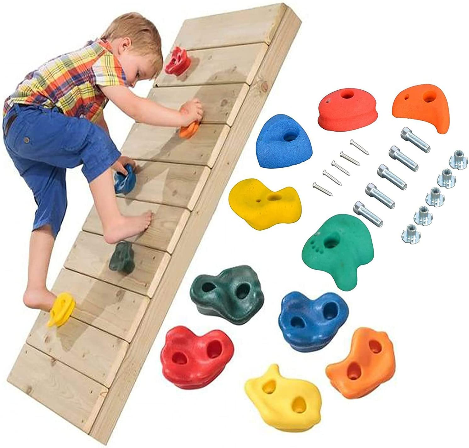 Wall The Magic Toy Shop 10 X Kid Rock Climbing Holds Coloured Climbing Stones Bolt On for Climbing Frame Tree House Rock Hold Grab Stones Grip