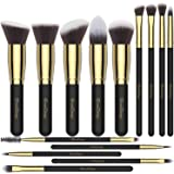 Makeup Brushes EmaxDesign 14 Pieces Professional Makeup Brush Set Synthetic Foundation Blending Concealer Eye Face Liquid Powder Cream Cosmetics Brushes Set (Golden Black)