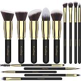 EmaxDesign Makeup Brushes 14 Pieces Professional Makeup Brush Set Synthetic Foundation Blending Concealer Eye Face Liquid Powder Cream Cosmetics Brushes Set (Golden Black)