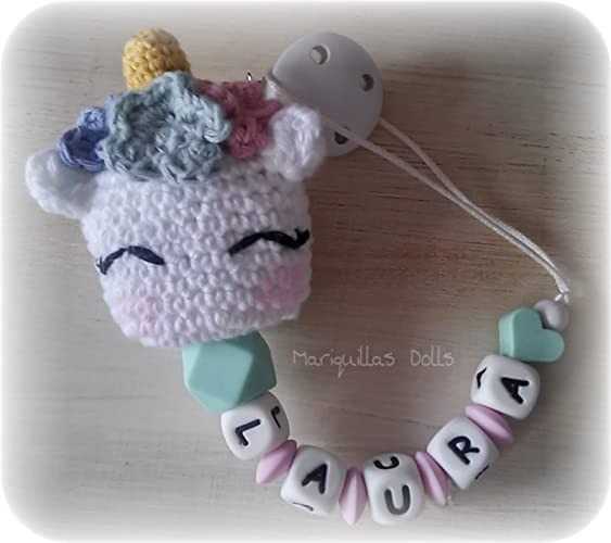 Chupetero Crochet PERSONALIZADO Unicornio- letras de ...