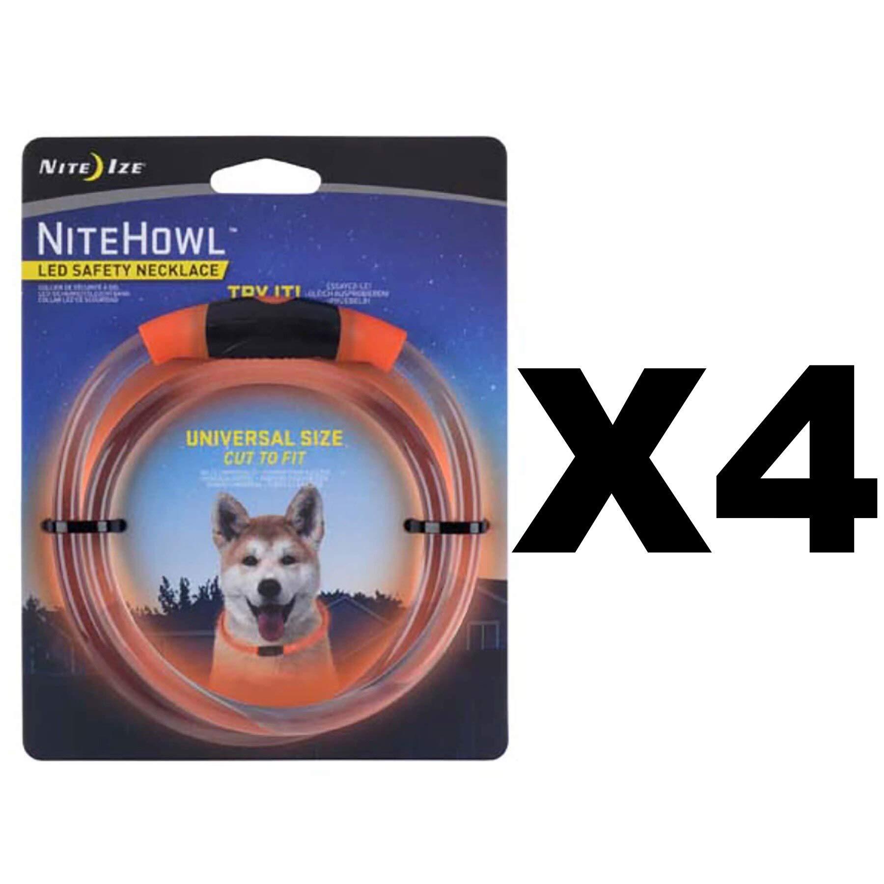 Nite Ize NiteHowl LED Safety Necklace Orange Pet Collar Glows & Flashes (4-Pack)