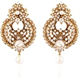 I Jewels Traditional Gold Plated Pearl Earrings For Women (White) (EM2176W)