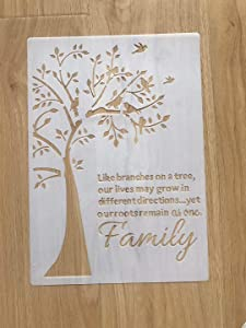 Family Tree Template DIY Decorative Stencil for Painting on Walls Furniture Crafts, A4 Size (Family Tree)