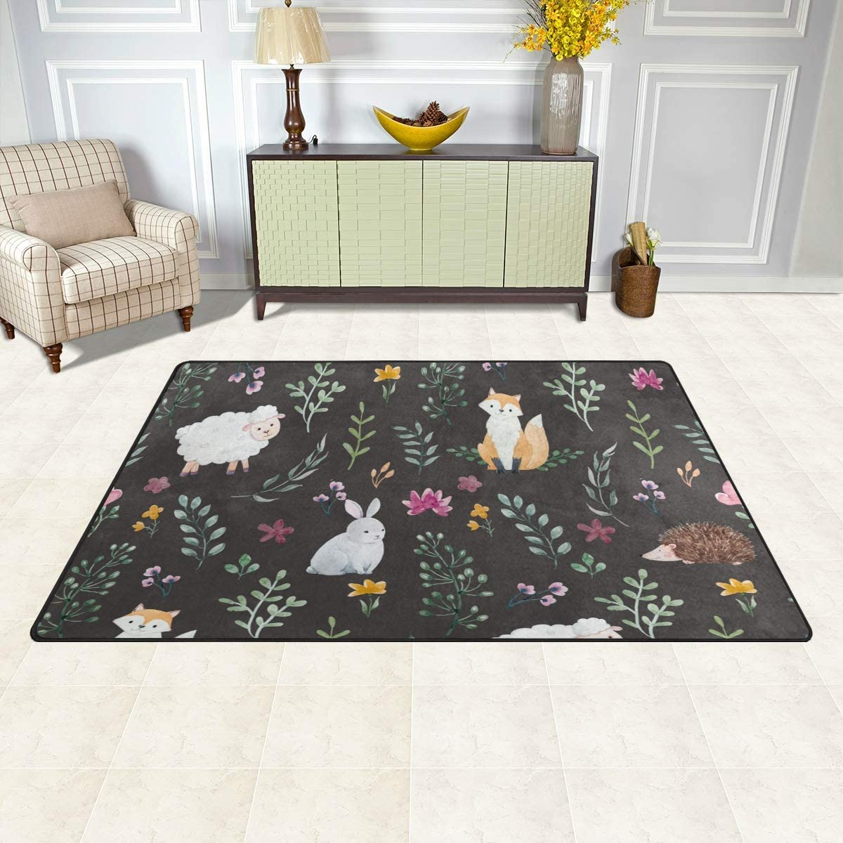 Vantaso Soft Foam Nursery Area Rugs Forest Spring Flowers Rabbit 31x20 inch Play Mats for Kids Playing Room Living Room Door Mat