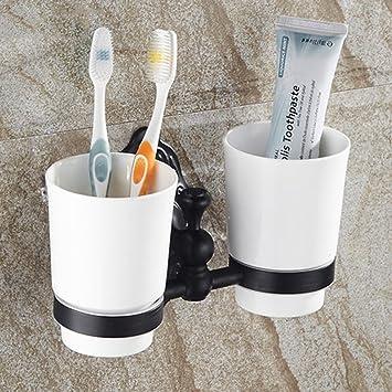 ZHANGY Accesorios de baño Copa de Cepillo de Dientes de Cobre Antiguo Cup Holder Cup Taza de cerámica Doble Taza de cerámica Retro Wash Cup: Amazon.es: ...