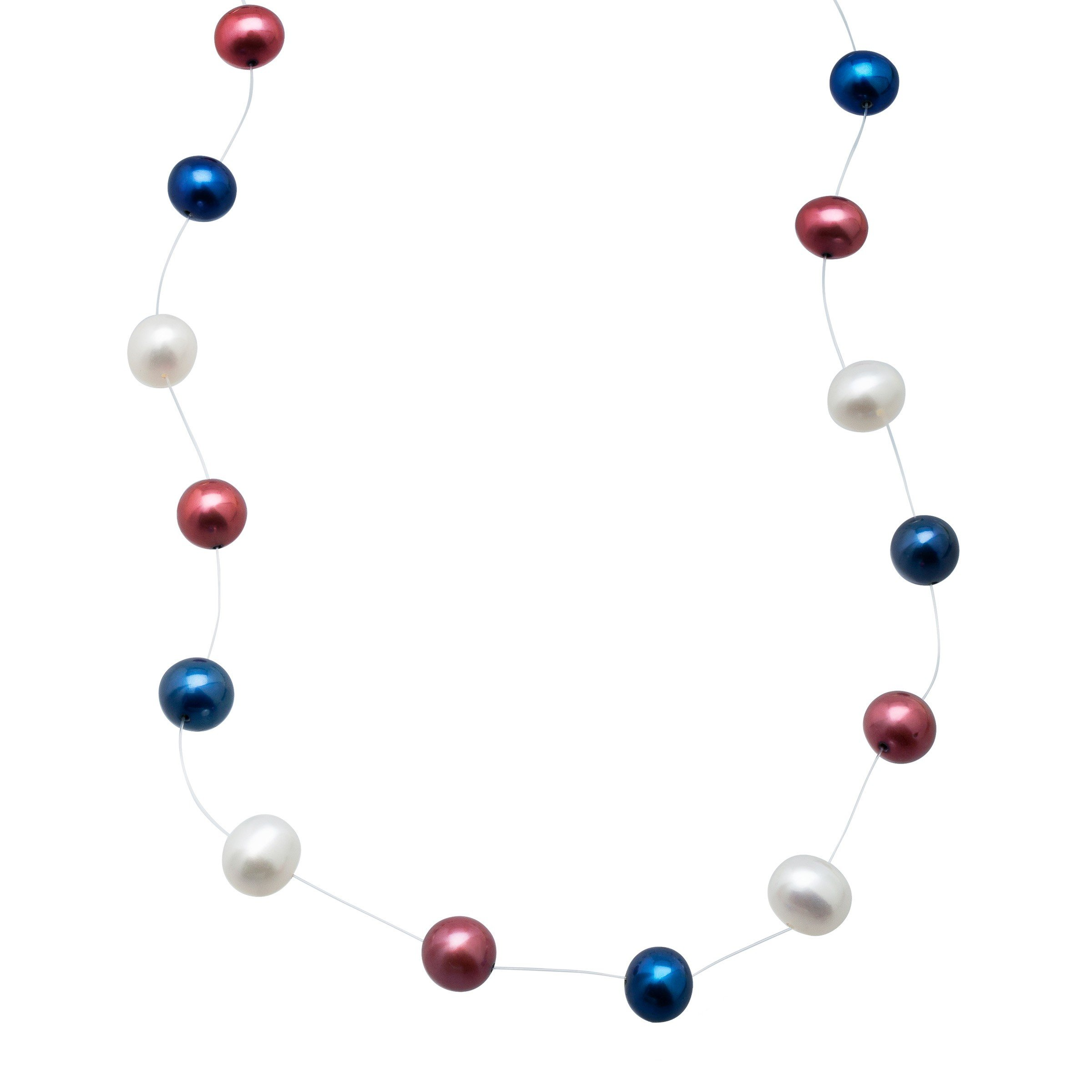 Americana Freshwater Cultured Pearl Floater Strand Necklace in Sterling Silver
