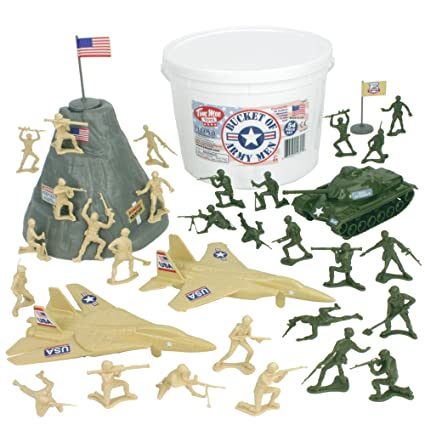 Amazon Com Timmee Bucket Of Army Men Tan Vs Green 54pc Soldier