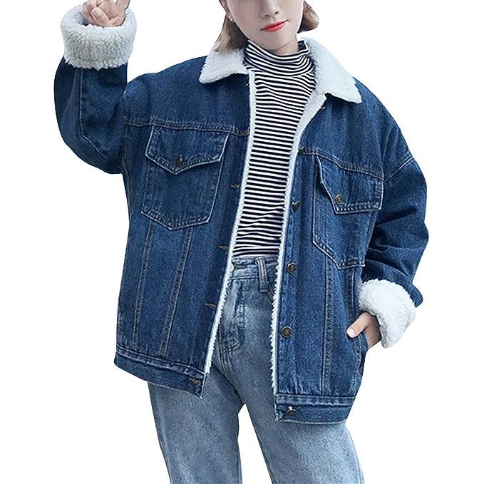 huge discount e2eaa f0f5d Giacca Donna Jeans Invernali Giacche Denim Elegante Ispessisce Calda  Giubbotto Manica Lunga Bavero Imbottitura Calda Cappotto Azzurro Sciolto E  Tasche ...