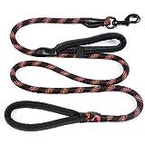 SPLAKER Hundetrainings Leine Haustier Seil - 1.8 M Doppelgriffe Kletterseil für Mittel und groß Hunde(up to 130 lbs), Farbe: Schwarz + Rot+Reflektierend, Modell: GSA001