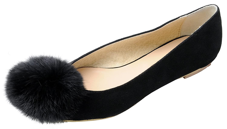 9f063d7fc Amazon.com | Womens Fluffy Fur Pom Pom Faux-Suede Ballet Flat Shoes, Black,  US 6.5, B(M) | Flats