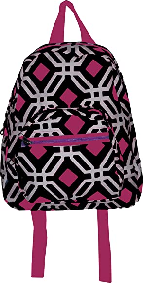Mini Backpack Purse 11-inch, Zipper Front Pockets Teen Child (Black with Pink Graphic)