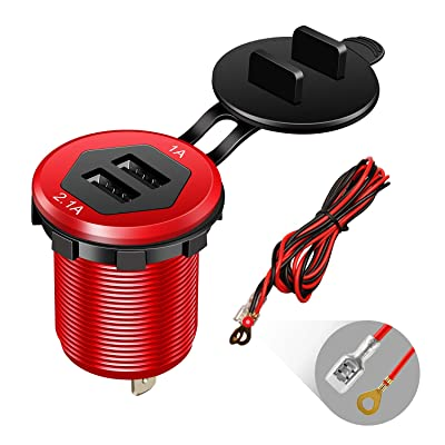 Dual USB Charger Socket Power Outlet 1A & 2.1A(3.1A) Aluminum Waterproof Car USB Charger with Wire Fuse for Car Boat Marine RV Mobile DIY Kit (1.8M Wire) Red: Electronics