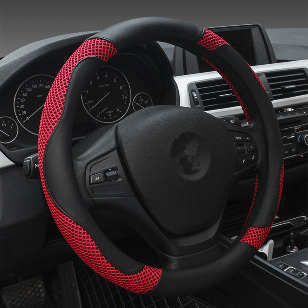 Dee-Type Red & Black Car Steering Wheel Covers Universal 15 Inch (Other Color Inside)