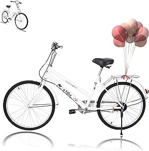 Women Bikes Beach Cruiser Bike, 24 Inch Classic Retro Bicycle Road Bikes, Single Speed Comfortable Bicycle Commuter Bicycle High-Carbon Steel Frame, Rear Racks
